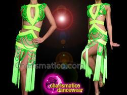 CHARISMATICO Diva'S Two Tone Neon Green Cutout Salsa Dance Fringe Dress