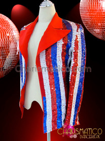 CHARISMATICO Patriotic Red, White, And Blue 4th Of July Sequined Cabaret Jacket
