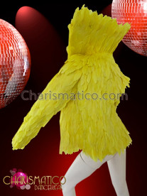 CHARISMATICO High Collared Rich Golden Yellow Soft Feather Diva'S Cabaret Jacket