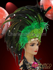 CHARISMATICO Three Tone Asymmetrical Green Feather Headdress With Lime Green Beading