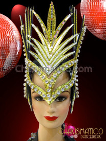 CHARISMATICO Gold Glitter Based Crystal And Mirror Accented Mohawk Spike Headdress