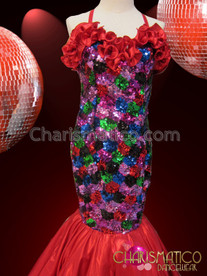CHARISMATICO Multi Color Patchwork Pageant Gown With Rich Red Satin Ruffles