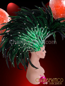 CHARISMATICO Green Glitter Flame Based Forest Feather Drag Queen Mohawk Headdress