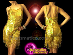 CHARISMATICO Sexy Iridescent Metallic Gold Sequin Fringe Strappy Dancer Diva Catsuit
