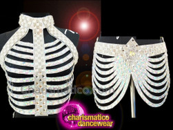 CHARISMATICO Showgirl White Mirror Skeleton Backless Top With Bunched Fringe Skirt