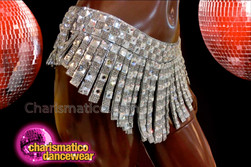 CHARISMATICO Mirror White Diva's Geometrical Chocker Neck Bra Top and Asymmetrical Skirt
