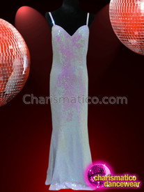 CHARISMATICO Floor Length White Sequined Gown With Spaghetti Straps And Sweetheart Neckline