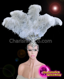 CHARISMATICO Elegant White Ostrich Feather and Faux Diamond Diva Headdress