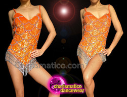 CHARISMATICO Fish Scale Orange Sequin Spaghetti Strap Silver Details Sexy Leotard