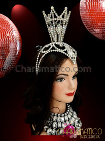 CHARISMATICO Crystal Crown In Silver Stone Studding With A Central Tower