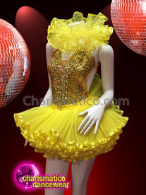 CHARISMATICO Golden and yellow shaded leotard and tutu sexy dress