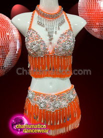 CHARISMATICO Orange colored bra and skirt set dress with metallic plate finish