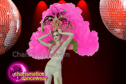 CHARISMATICO Carnival Pink Headdress With Intricate Details And Matching Ostrich Feather Wings Set