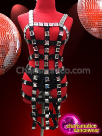 CHARISMATICO Black Shiny Bondage Inspired Dress with Mirrors
