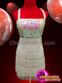 CHARISMATICO White Sleeveless Evening Dancing Salsa Dress With Colorful Sequins