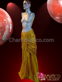 CHARISMATICO Floor Length Evening Diva Gold Sequined Draped Style Skirt
