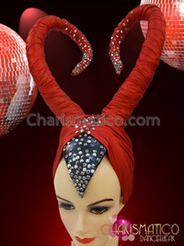 CHARISMATICO Maleficent Inspired Drag Queen Studded Red and Black Headdress