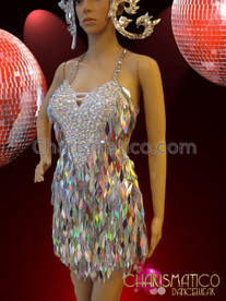 CHARISMATICO White Latin Ballroom Strap Diva Dress With Colorful Sequins