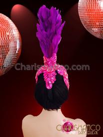 CHARISMATICO Vivid Intense Purple Feather Diva Headdress