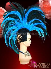 CHARISMATICO Vivid blue sapphire vibrant feather Mohawk samba headdress
