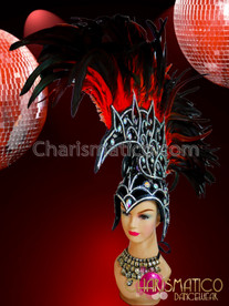 CHARISMATICO Simmering Vibrant Bright Red Mohawk Studded Headdress