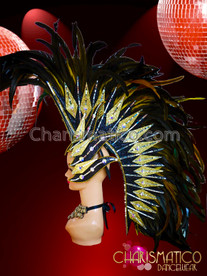 CHARISMATICO Glistening Yellow Feather Bright Showgirl Attractive Samba Headdress