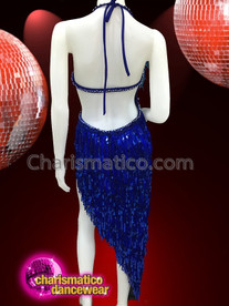 CHARISMATICO Sexy Salsa Backless Blue Fringe Dress With Sequins