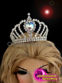 CHARISMATICO Queen Of Hearts Showgirl Crystal Crown With Faux Diamond Heart