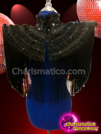 CHARISMATICO Black Performance Diva Shoulder Jacket With Tassels And Beaded Details