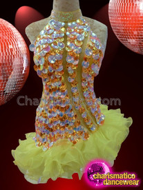 CHARISMATICO Sequined Strapless Yellow Salsa Dress With Ruffled Yellow Tutu