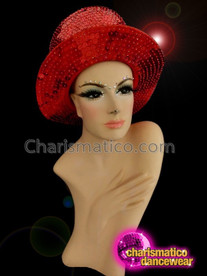 CHARISMATICO Glitter Queen In The Bring And Fiery Shade Of Red Sequin Top Hat