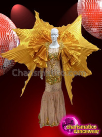 CHARISMATICO Diva's Gold Accented Sequin Star Shaped Layered Golden Cabaret Backpack