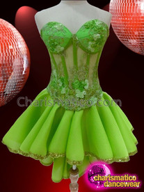 CHARISMATICO Sleeveless Bright Green Diva'S Dance Dress With Gold Lace Ruffled Underskirt