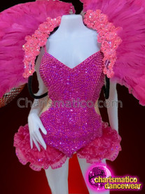 CHARISMATICO Bright Fuchsia Corset Style Showgirl Leotard with Matching Color Feathery Backpack