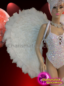 CHARISMATICO Shimmering White Set Of Backpack, Headdress, And Corset Style Leotard