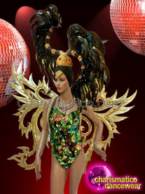 CHARISMATICO Classic Rainbow Sequined Corset Style Showgirl Leotard With Golden Wings And Feathery Headdress
