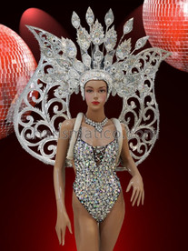 CHARISMATICO Vegas Showgirl Silver Sequined Leotard with Silver wings and Headdress