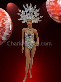 CHARISMATICO Vegas Silver Iridescent Sequin Corset Style Showgirl Leotard With Matching Headdress