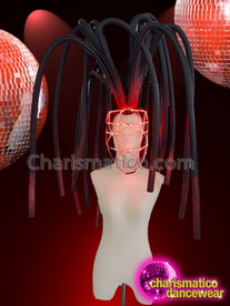 CHARISMATICO Unique black and red feathered led cage dance diva headdress