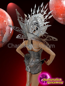 CHARISMATICO Shiny Silver Dotted Grey Glamour Queen Costume Set With Headdress
