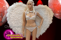 CHARISMATICO White Bird Like Glitter Queen Diva Wings With Heart Patterned Joint