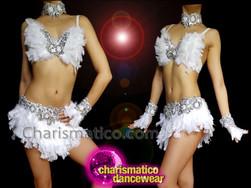 CHARISMATICO Sexy And Pretty White Chiffon Rhinestone Studded Bra And Thong Combo Set