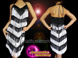 CHARISMATICO Sexy and short sexy monochrome glamorous dance diva fringe dress
