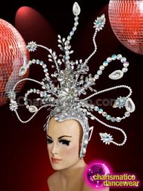 CHARISMATICO Glamorous Silver Rhinestone Setting Attractive Golden Diva Girl Crystal Headdress