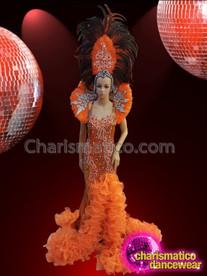 CHARISMATICO Long Bright Orange Rhinestone Setting Diva Drag Queen Costume Set