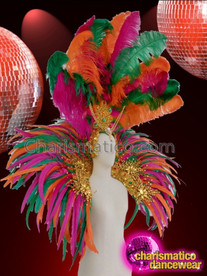 CHARISMATICO Awesomely Sexy Multi Color Feathered Stunning Golden Diva Backpack And Headdress