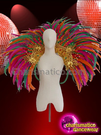 CHARISMATICO Super sexy multi color feathered drag queen backpack