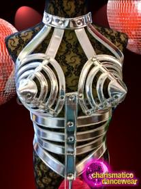 CHARISMATICO Super sexy silver corset glamour diva queen's stylish cage dress