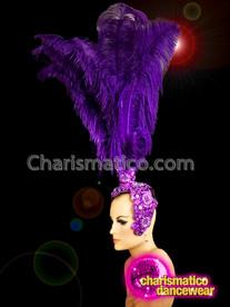 CHARISMATICO Beautiful ostrich style purple dance diva queen headdress prop