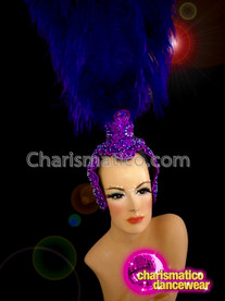 CHARISMATICO Beautiful Ostrich Style Purple Dance Diva Queen Headdress Prop